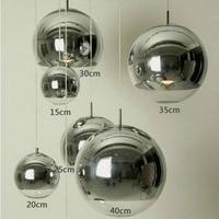 Modern Silver Copper Shade Lighting Glass Globe Ball Pendant Light Round Ceiling Hanging Lamp luminaire Kitchen Light Fixture
