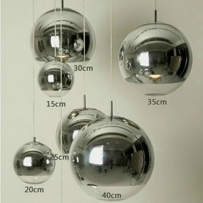 Modern Silver Copper Shade Lighting Glass Globe Ball Pendant Light Round Ceiling Hanging Lamp luminaire Kitchen Light Fixture