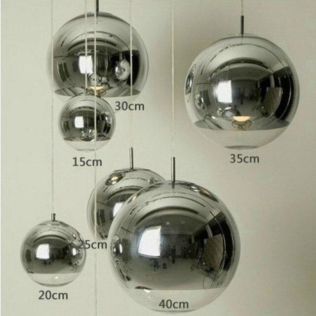 Moderne Zilveren Koperen Schaduw Verlichting Glazen Bol Bal Hanglamp ...