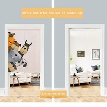 For Home Decoration Cartoon Animal Printed Cotto Linen Japanese Style Noren Doorway Curtain Hanging Tapestry