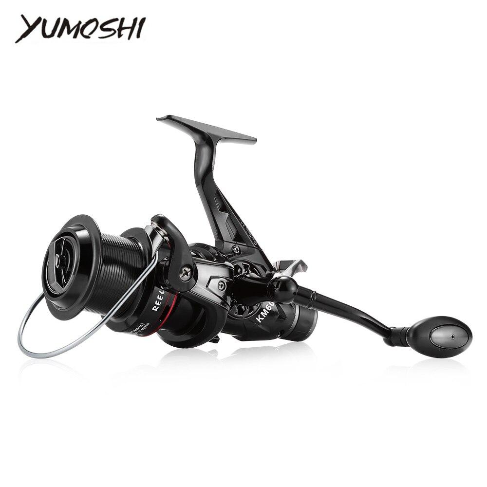 YUMOSHI KM50/60 5.2: 1 Ratio vitesse Traîne Bateau de Poissons Spinning Bobine Pleine Métal CNC Rocker Bras Léger Spinning Reel Fishing