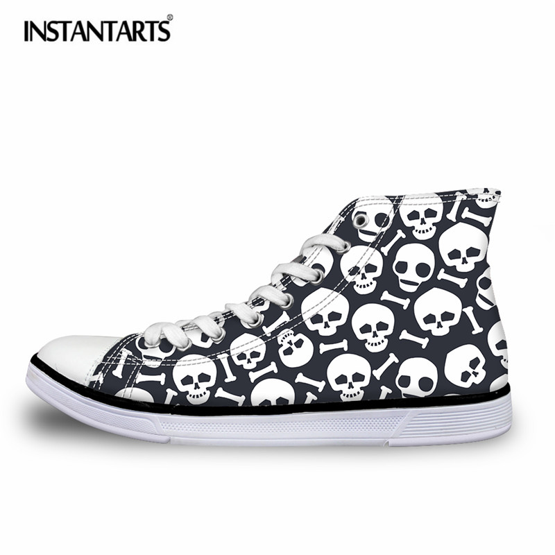 INSTANTARTS Punk Skulls Printing Men Vulcanize Shoes Breathable High Top Canvas Shoes for Boys Students Summer Lace Up Sneakers slimming summer letters printing tank top for men