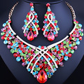 Frete Grátis, Moda Na Moda do casamento nigeriano Beads Africanos Conjuntos de Jóias de Cristal Colar Jogo Partido Conjunto de Jóias de Casamento Dubai
