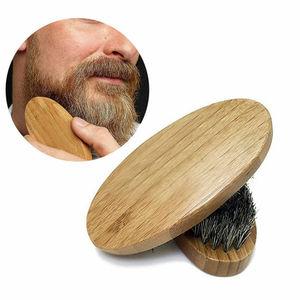 Image 3 - 1PC Men Natural Boar Bristle Beard Mustache Brush Military Wood Handle Comb Newest