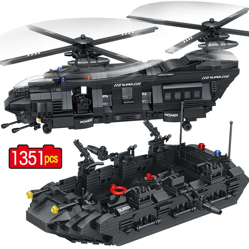 1351PCS SWAT Team Transport Helicopter Building Blocks Legoingly Military City Police Figures Education Bricks Kids Toys