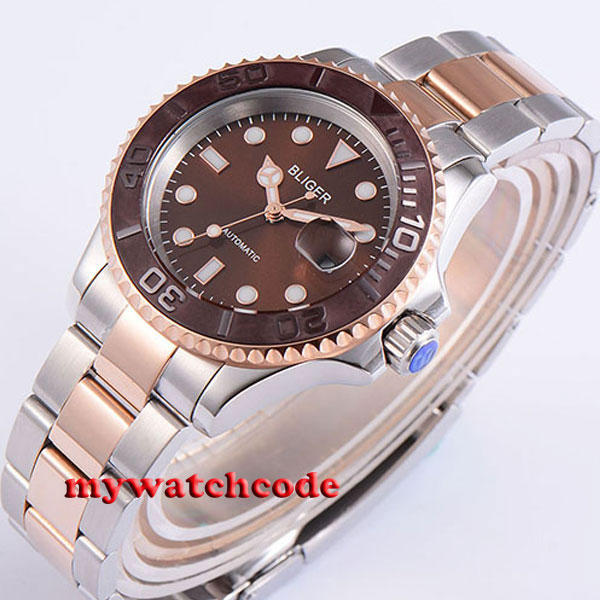 40mm Bliger brown dial ceramic bezel golden plated case automatic mens watch 196