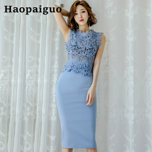 2019 Summer Casual Vintage Two Piece Set Hollow Out Lace Blouse and Wrap Midi Skirt Women 2 Piece Set Formal Party Plus Size