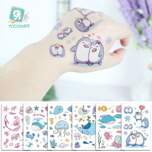 Cartoon Whale Tattoo For Kids Ocean Animal Fake Taty Children Body Art Waterproof Temporary Tattoo Sticker Blue Sea Style Tatoo 2016 unique european style taty tattoo glitter body art golden temporary tattoo metallic tongue flower bracelet tatoo designs