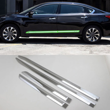 Car Accessories Exterior ABS Chrome Side Door Car Body Molding Strips Cover Trim For Nissan Altima 2016 Car Styling недорго, оригинальная цена