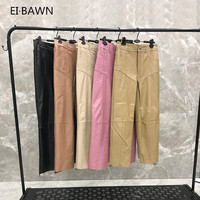 2019 spring casual leather sheepskin long pants women's solid color loose high waist leather pants womens pants