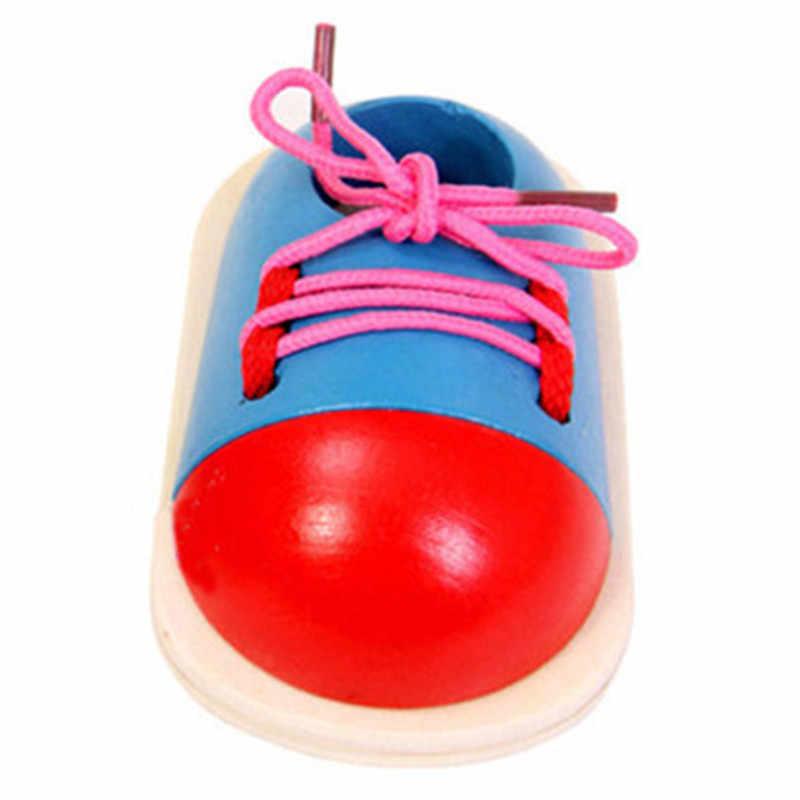 1 חתיכה אופנה פעוט לשרוך נעלי ילדים DIY Eva שעון למידה חינוך מונטסורי ילדי עץ צעצועי ילדי צעצועים