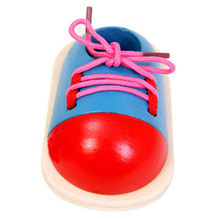 1Piece Fashion Toddler Lacing Shoes Kids DIY Eva Clock Learning Education Montessori Kids Wooden Toys Children Toys(China)