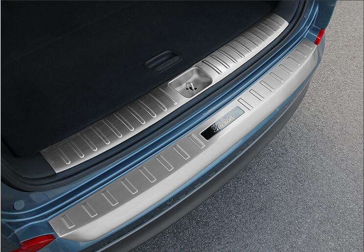 Stainless Steel Pedal Rear Trunk Guard Bumper Protector Scuff Door Sill Plate For 15 16 17 Hyundai Tucson 2015 2016 2017