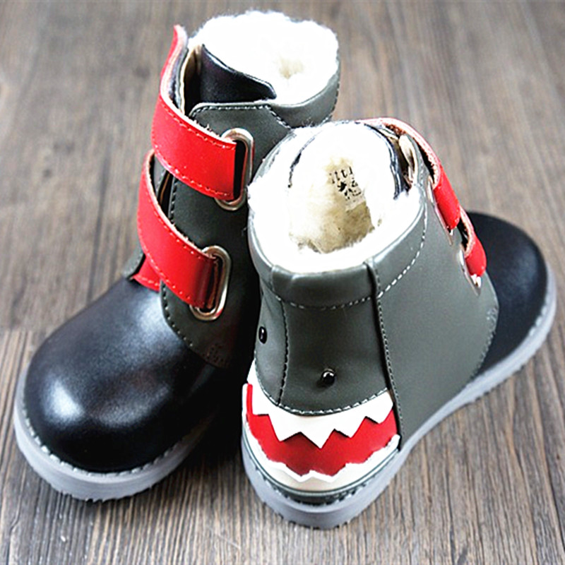 Lambs wool Kids Boots Genuine Leather boys girls shoes Non slip Winter children snow boots shark