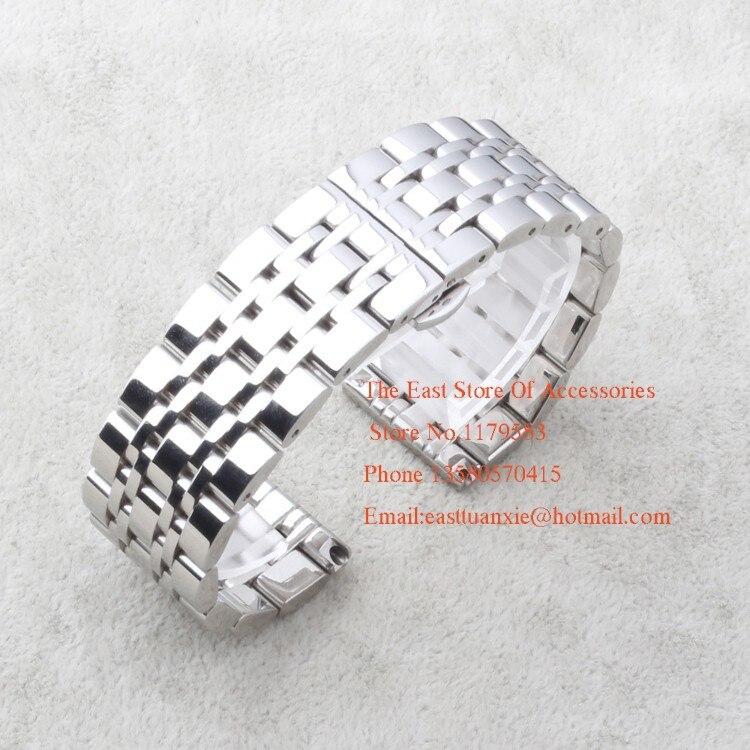 22 mm Stainless Steel Bracelet Silver Metal Flat End Watch Band Thin Quartz Watch Strap Accessories