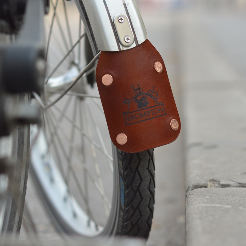 Genuine Leather Mudguard for Brompton Bicycle ** Recommend ** Black Edition