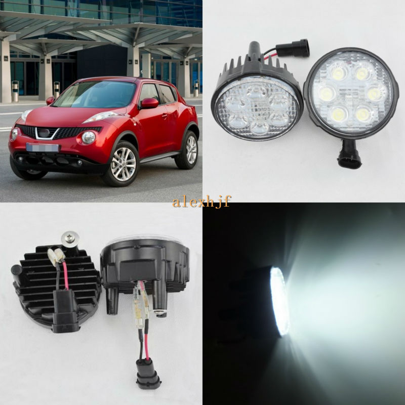 ФОТО July King 18W 6LEDs H11 LED Fog Lamp Assembly Case for Nissan Juke 2011~2014, 6500K 1260LM LED Daytime Running Lights