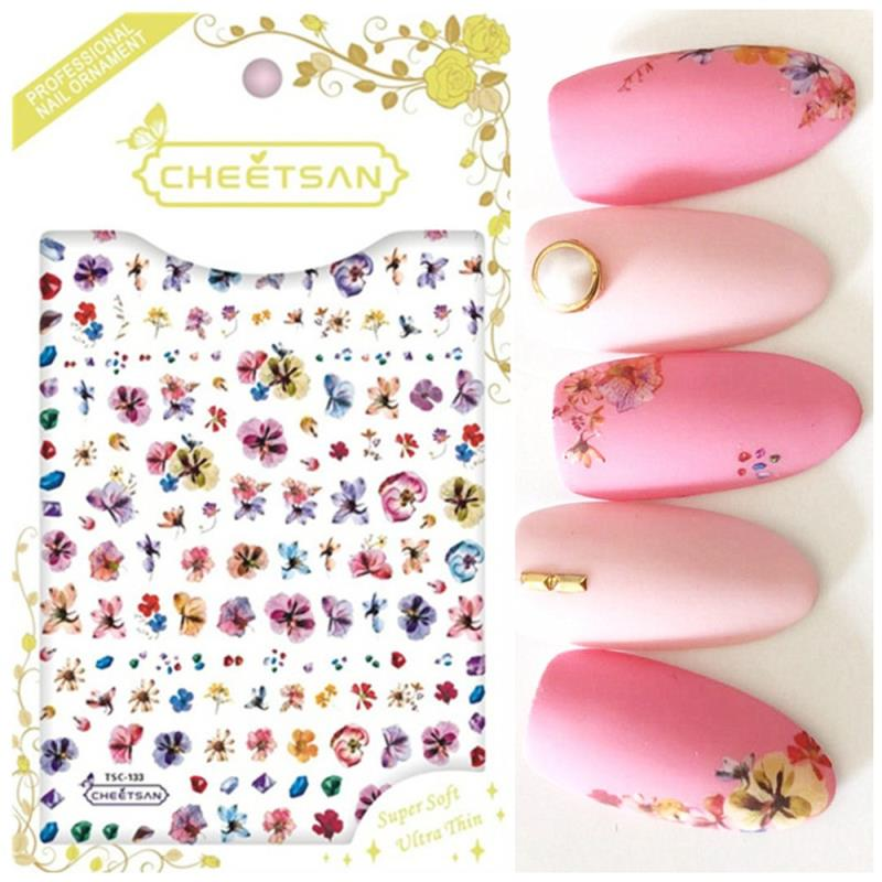 Newest TSC 133 flower design 3d sticker nail Japan style nail decals template back glue DIY nail decoration tools in Stickers Decals from Beauty Health