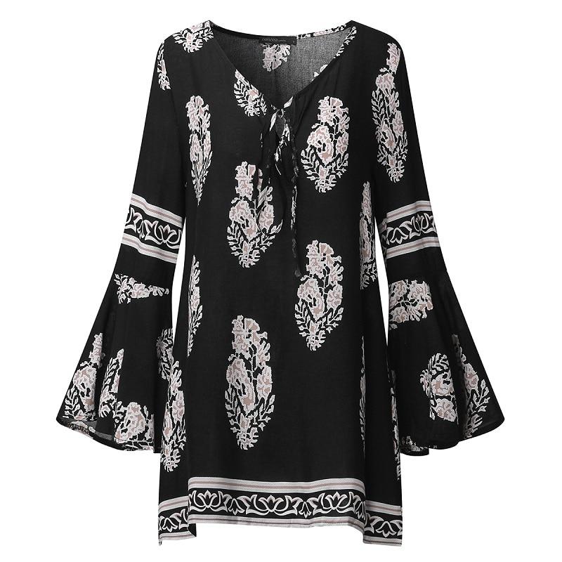 ZANZEA 2018 Dame Boho Lace Up V-Neck Shirt Stor Størrelse Floral - Dametøj - Foto 6