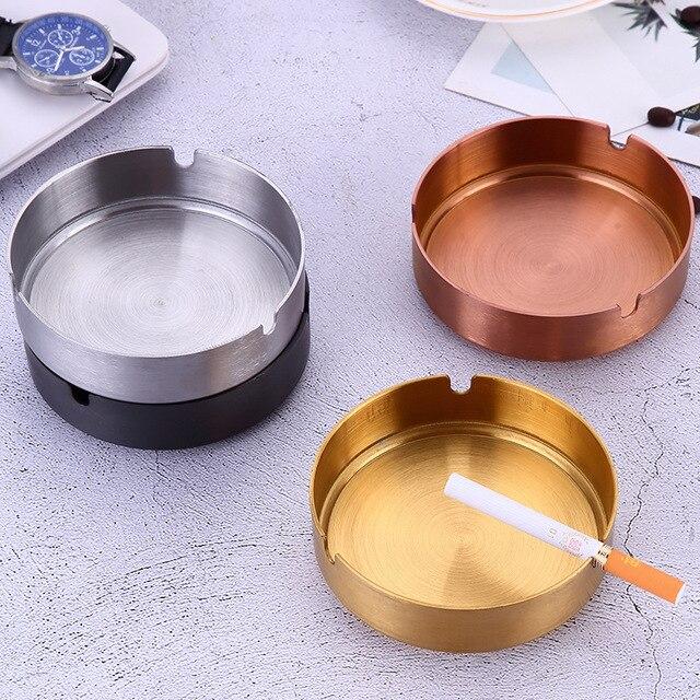 1 pz In Acciaio Inox Oro-placcato Posacenere Sigaro Posacenere Vassoio di Cenere