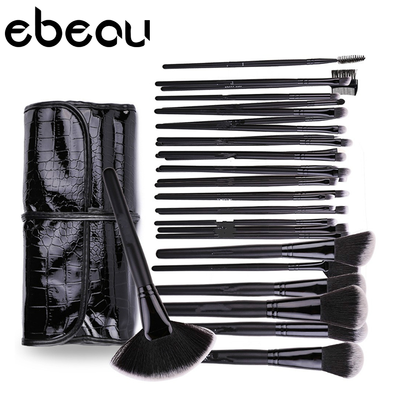 Makeup Brushes 32 pcs Cosmetic Kit Eyebrow Blush Foundation Powder Make up Brush Set With Black Case (Color: Black) 24pcs makeup brushes set cosmetic make up tools set fan foundation powder brush eyeliner brushes leather case with pink puff