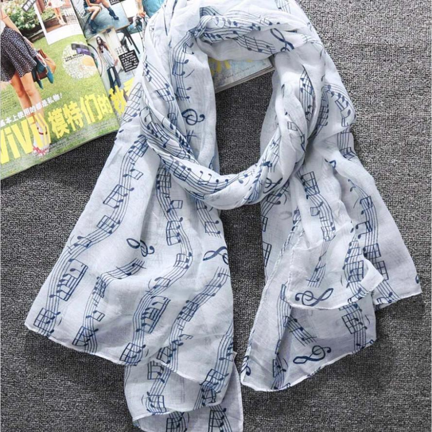 2019 Balinese musical notes hooded   scarf   Women Large Long Voile   Scarves   Shawls   Wraps   Foulard Femme female handkerchief