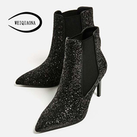 WEIQIAONA Woman Pointed Toe Fine High Heel Boots Sequins Elastic Cloth Ladies Sexy Feminine Short Boots