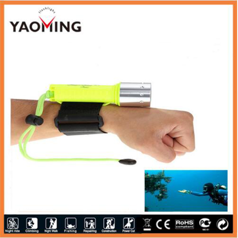 1pc CREE 2000 lumen xml T6 waterproof LED Diving flashlight submersible led light underwater 50meters hand lamp for fishing