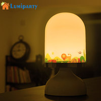 LumiParty LED Night Light USB Rechargeable Touch Sensor Table Lamp Cute Baby Bedside Lamp With Hook