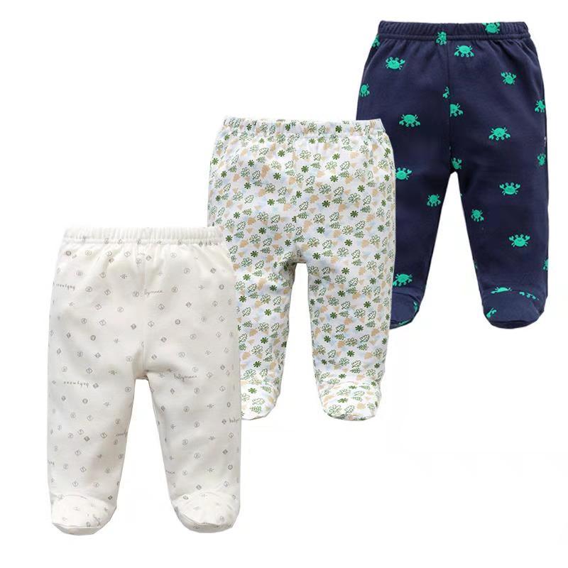 3 pcs/h bebê calças primavera outono footed 100% algodão roupas da menina do bebê recém-nascido bebes infantil bebê calças crianças roupas