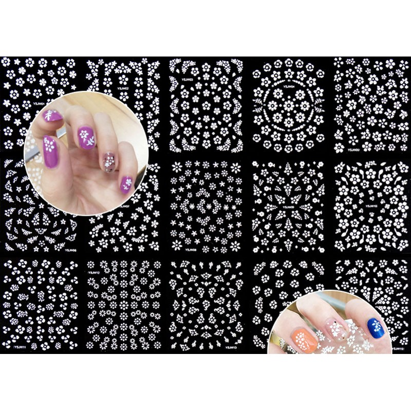 Image 2 - 3D Nail Stickers Decals 30PCS/Lot Transfers White Flower Rhinestone Nail Art Sticker Decals Foam Nail Polish Sticker-in Stickers & Decals from Beauty & Health