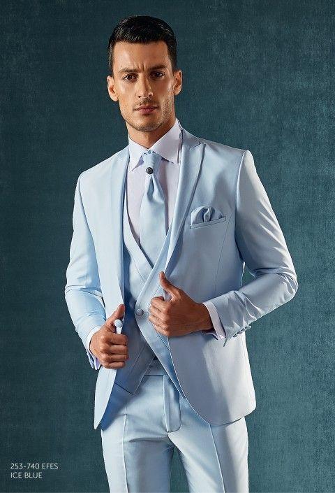 2017 Latest Coat Pant Designs Light Blue Satin Men Suit Double Breasted Slim Fit 3 Piece Tuxedo Custom Groom Prom Suits Vestidos