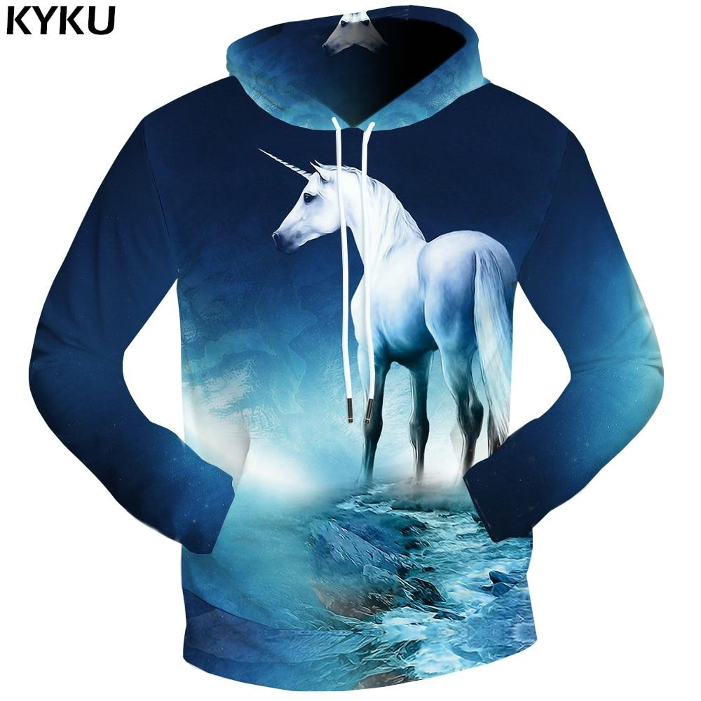 KYKU Brand Unicorn Hoodies Dream Sweat shirt Moon 3d hoodies Funny Clothing 3D Hoodie Sweatshirts Male Men Hood 2018
