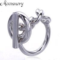 Moonmory 925 Srebro Łańcuch Liny Pierścień Z Hoop Blokady Dla Kobiet Francuski Popularne Zapięcie Pierścień Sterling Silver Biżuteria Making