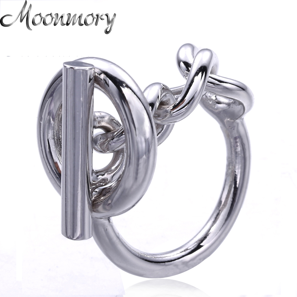 Moonmory 925 Sterling Silver Rope Chain Ring Med Hoop Lock For Kvinner Fransk Popular Clasp Ring Sterling Sølv Smykke Making