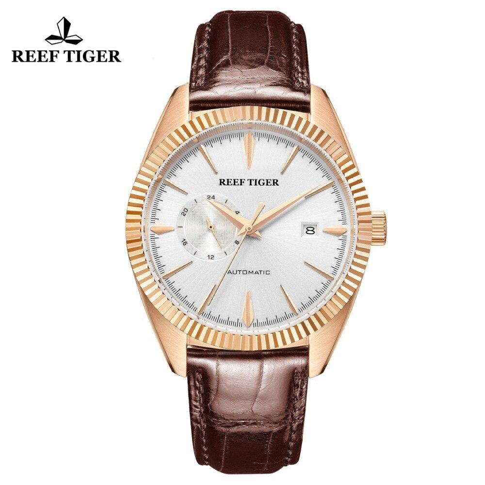 Reef Tiger/RT лучший бренд класса люкс мужские часы Автоматические платье часы пояса из натуральной кожи ремень водонепроница Relogio Masculino RGA1616