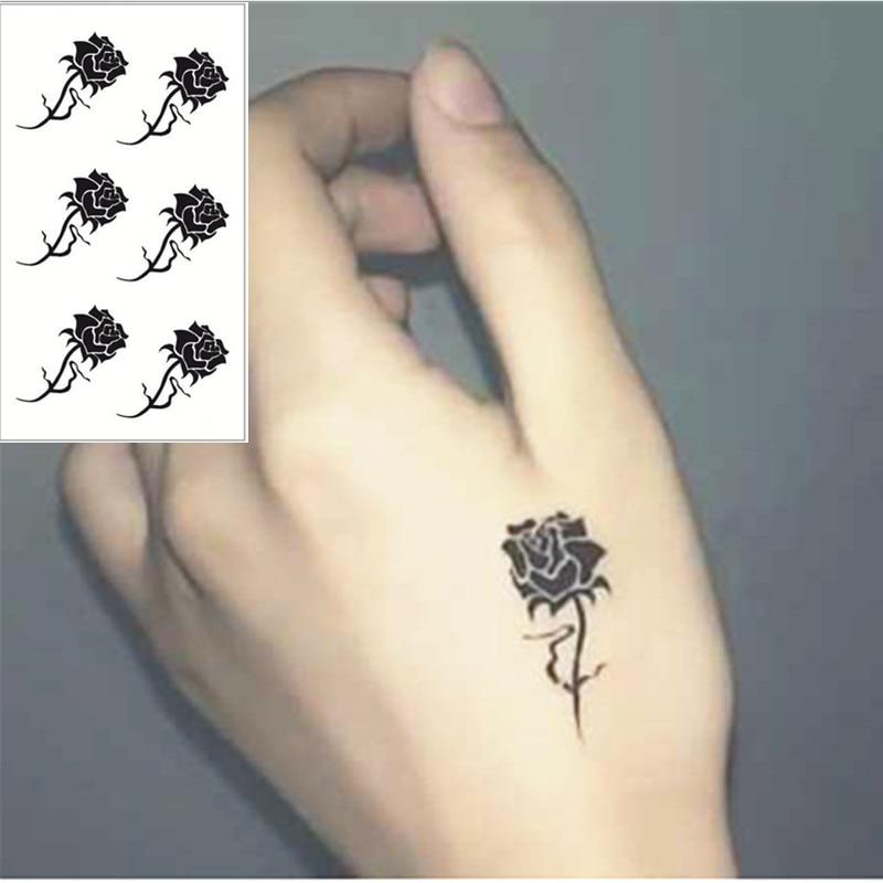 buy shnapign black rose flash tattoo hand sticker 10 5 6cm small waterproof. Black Bedroom Furniture Sets. Home Design Ideas