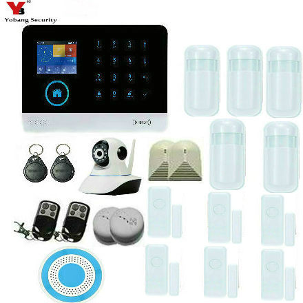 YobangSecurity WIFI GSM Wireless Burglar Alarm System Home Security Alarm with Wireless Flash Siren Android IOS APP Control yobangsecurity 2 4g touch keypad wireless wifi alarm system security home ios android app remote control gas leakage detector