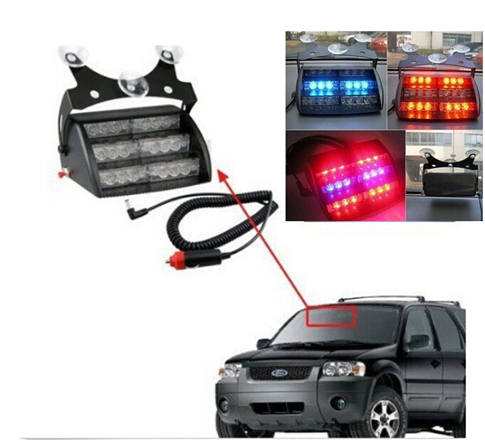 LED Flashing Strobe Lamps Bulbs Red Blue Yellow Car Vehicle Auto Truck Warning Light 18-LED Emergency 3 Flash Modes Warn Lights