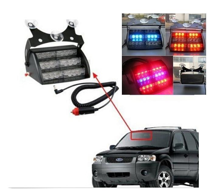 LED Flashing Strobe Lamps Bulbs Red Blue Yellow Car Vehicle Auto Truck Warning Light 18-LED Emergency 3 Flash Modes Warn Lights