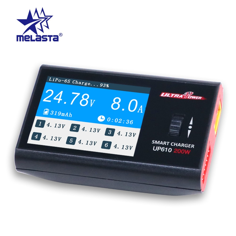Melasta UP610 200W Portable Smart Charger for RC Drone Quadcopter Car 1-6S Lipo Battery 1-16S NiCd NiMH Battery RC Charger