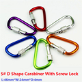 5PC/Lot 5# Aluminum Alloy D Shape Carabiner With Screw Lock Mosqueton For Outdoor Camping Hiking EDC Tool AA10-5P