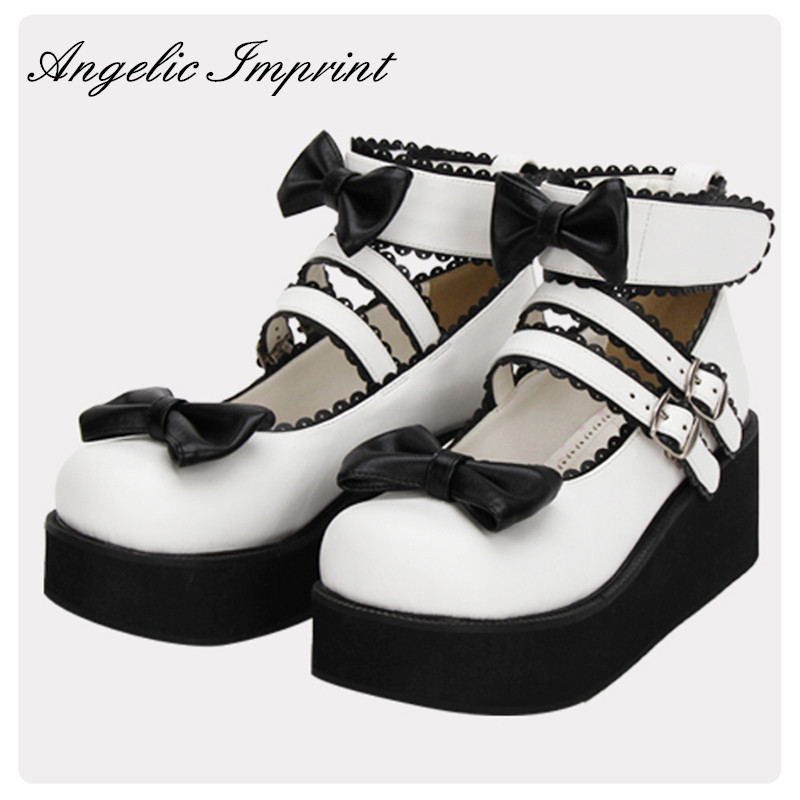 Japanese Black and White Bowtie Gothic Lolita Shoes Comfortable Round Toe Wedge Platform Shoes super lovely white rabbit ears lolita princess platform heels shoes comfortable round toe cos shoes
