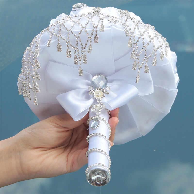 Wifelai-Baru Buatan Tangan Rhinestone Bros Rumbai Pernikahan Bridal Karangan Bunga Putih Kustomisasi Canggih Bride Pernikahan Bouquet W2032