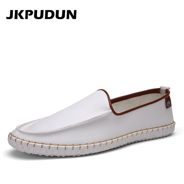9bb35af5c Handmade Leather Italian Casual Shoes Men White Designer Mens Driving Shoes  High Quality Penny Loafers Brand Espadrilles Flats