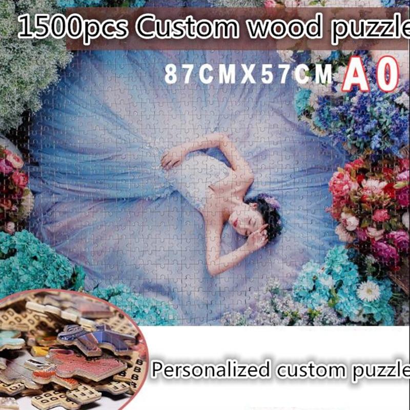 Foto personalizada quebra-cabeça personalizado 1000 peças de madeira quebra-cabeça pintura adulto crianças brinquedos decoração para casa cenário quebra-cabeças