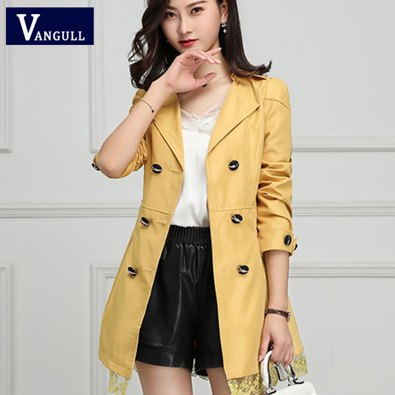 VANGULL 2019 Autumn New Korean Women Lace Long   Trench   Female slim Long sleeve Temperament Double Breasted Solid Coat Windbreaker