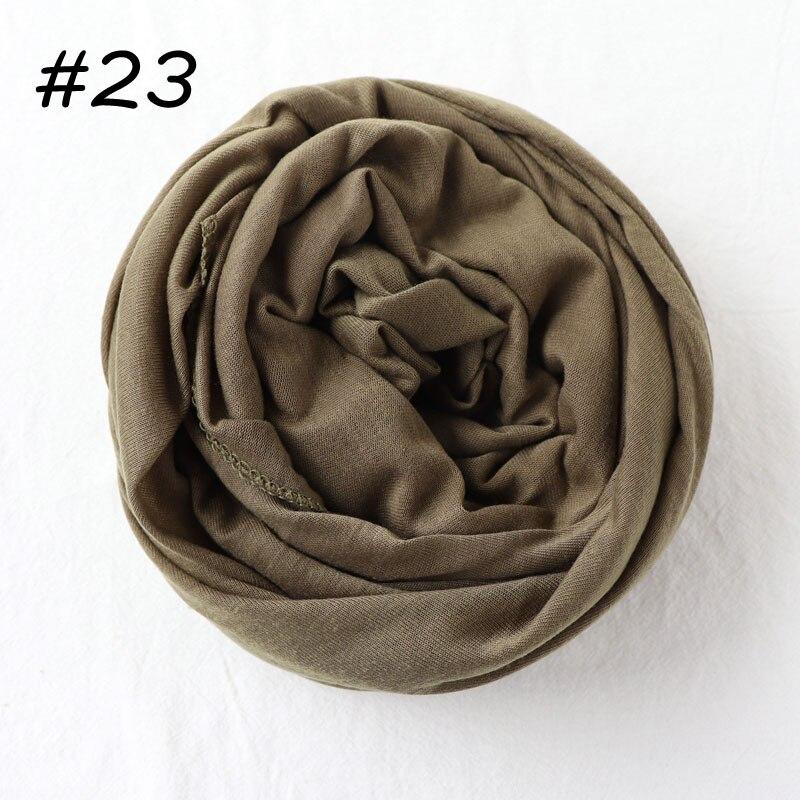 Один кусок Хиджаб Женский вискозный Джерси-шарф Мусульманский Исламский сплошной простой Джерси хиджабы Макси шарфы мягкие шали 70x160 см - Цвет: 23 olive gray