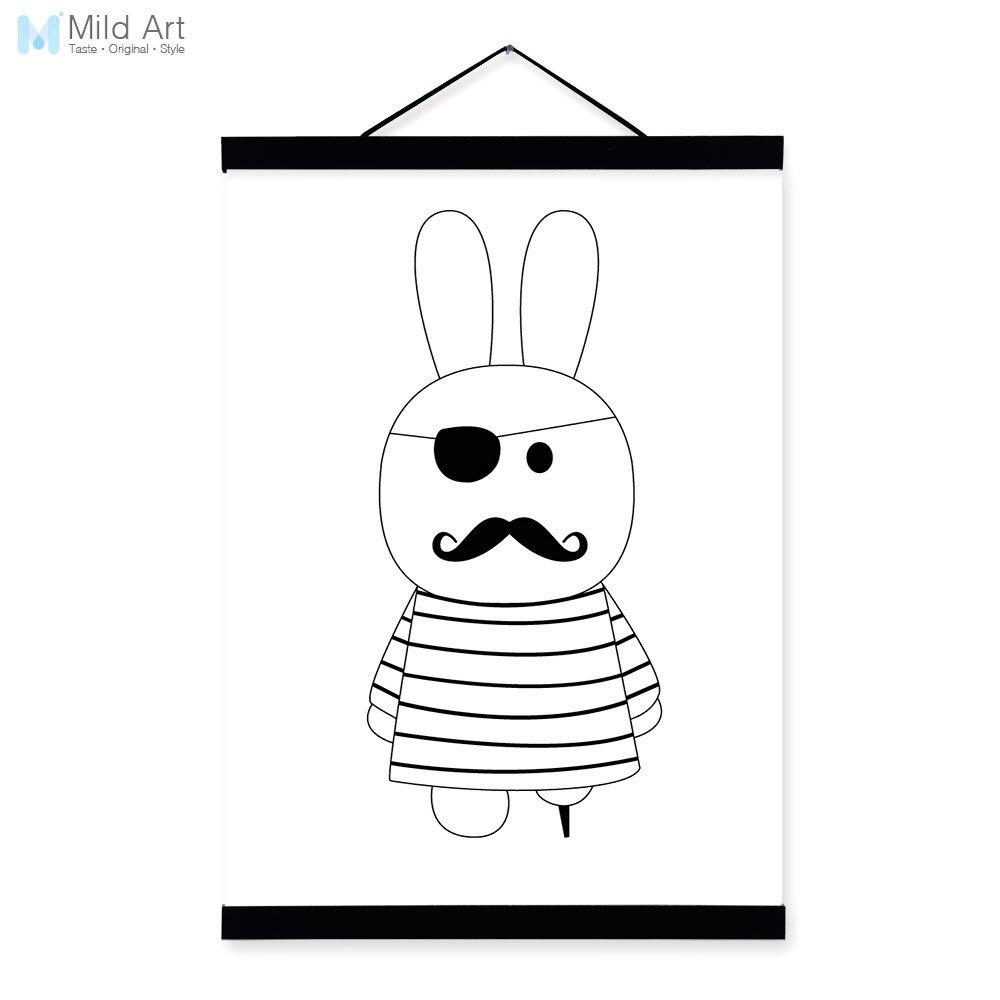 Minimalistischen Schwarz Weiß Nordic Pirate Kaninchen Tier Cartoon ...