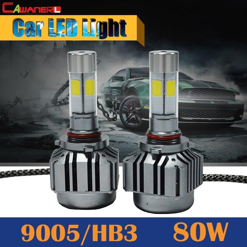 Cawanerl 80W 9005 HB3 8000LM LED Lamp 6000K White Super Power Car Headlight Fog Lamp Daytime Running Light DRL 9005 hb3 55w halogen bulb super white headlight fog car lamp daytime running drl auto head light 5000k 12v